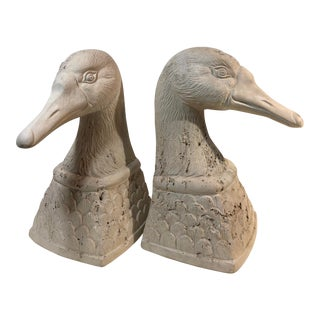 Pair of Vintage Pottery Duck Bookends 1979 Jaru California Signed M. Fridman For Sale