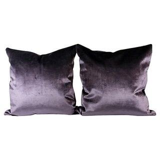 Royal Purple Italian Silk Velvet Pillow Covers - Pair For Sale