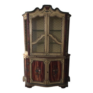 1950's Italian Hutch, Hand Painted Floral China Cabinet For Sale