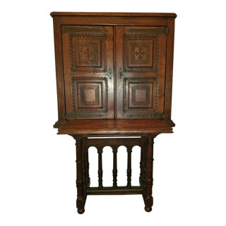 16c Carved Spanish Oak Writing Desk and Cabinet Previously Owned by Vincente Blasco Ibanez For Sale
