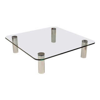 Glass and Chrome Coffee Table by Pace For Sale