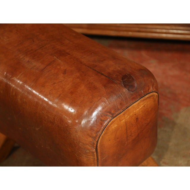 Animal Skin Early 20th Century Czech Pommel Horse Bench With Patinated Brown Leather For Sale - Image 7 of 10