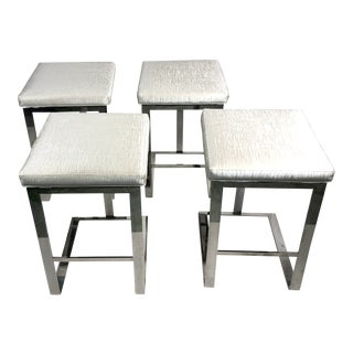 Contemporary Century Furniture Stainless Steel Bar Stools - Set of 4 For Sale