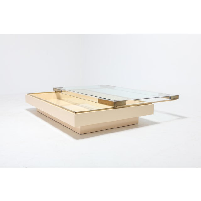 Sliding Coffee Table in Brass, Lucite and Lacquer by Charles Hollis Jones 1970s For Sale - Image 6 of 9