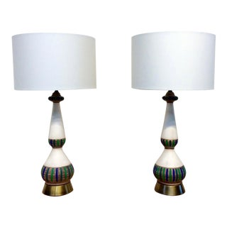 1960s Mid-Century Modern Hand Painted Lamps - a Pair For Sale