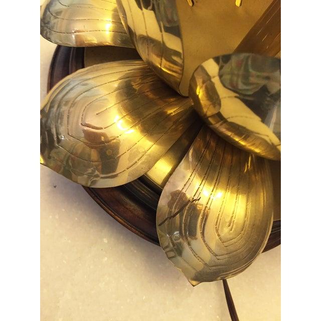 Vintage Brass Lotus Lamp Attributed to Feldman - Image 5 of 9