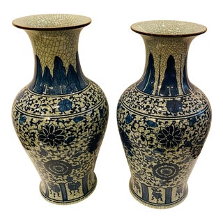 Asian Blue and White Vases- a Pair For Sale
