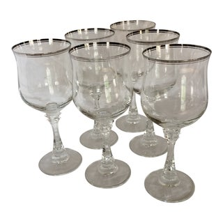 Platinum Rim Princeton Clear Water Goblets - Set of 6 by American Stemware For Sale
