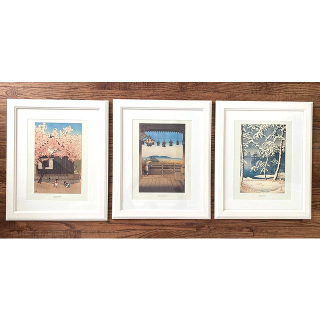 Framed Japanese Woodblock Reproduction Prints After Kawase Hasui - Set of 3 For Sale - Image 13 of 13