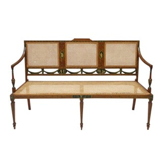 1920s Vintage George III Style Caned Settee For Sale