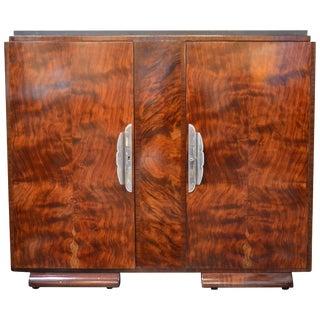 Art Deco Burl Wood Cabinet For Sale
