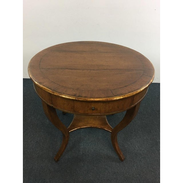 Traditional Vintage Carved & Veneered Walnut Single Drawer Round Top End Table For Sale - Image 3 of 5