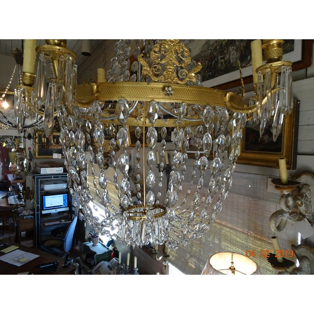 19th Century French Empire Crystal Chandelier For Sale - Image 10 of 13