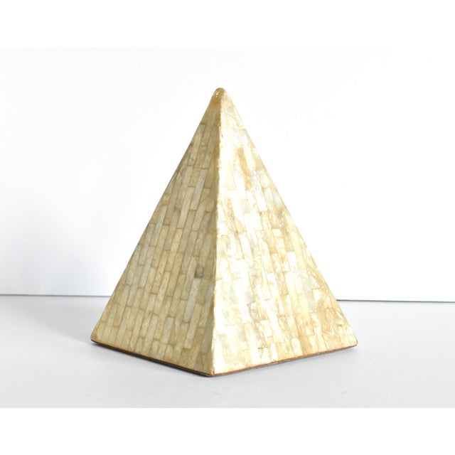 Vintage Mother of Pearl Inlaid Pyramid Curio For Sale - Image 4 of 8