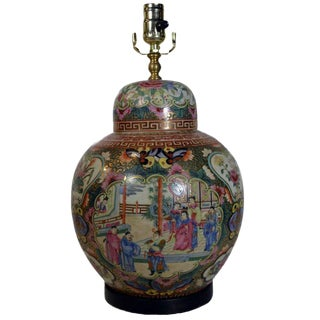 Vintage Hand-Painted Porcelain Lamp with Chinoiserie from 1970s, China For Sale