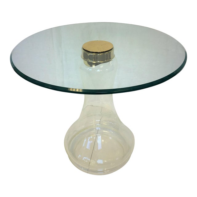 Sarreid Ltd. Glass and Brass Side Table For Sale