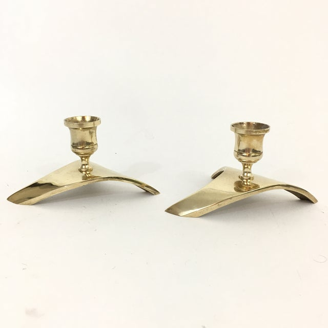 Mid Century Modern Brass Triangle Candlestick Holders - a Pair For Sale - Image 4 of 8