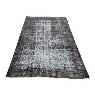 1960s Turkish Oushak Distressed Gray Wool Rug For Sale