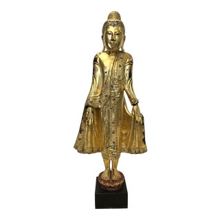 Antique Thai Carved Gilt Wood Buddha Statue For Sale