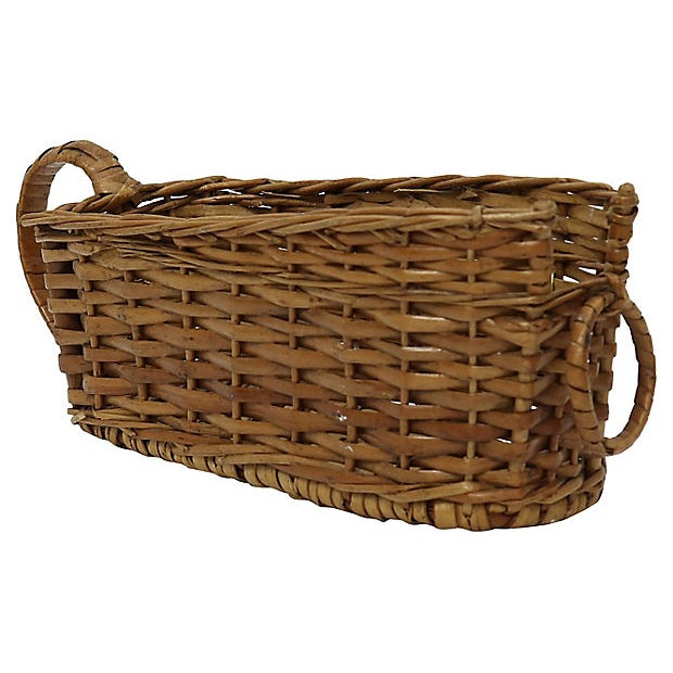 Art Deco French Bistro Wicker Wine Basket For Sale - Image 3 of 4