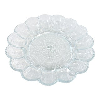 1940s Blue Hobnail Glass Tray For Sale
