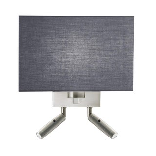 Combination Wall Light With Twin Led Reading Light in Brushed Nickel For Sale