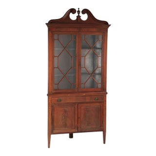 Early 20th C. Mahogany Corner Cabinet For Sale