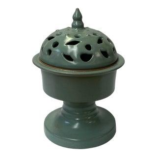 Ru Ware Celadon Green Crackle Ceramic Incense Holder Display For Sale