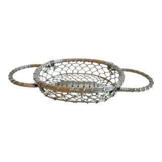 Vintage Country Silver Wire Woven Basket For Sale