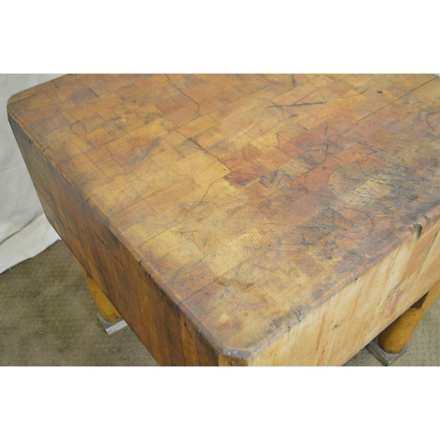 Vintage Antique Maple Butcher Block Table by Bally Block Co. For Sale - Image 9 of 10