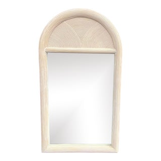 Vintage Coastal Pencil Reed Arched Mirror For Sale