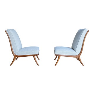 t.h. Robsjohn-Gibbings Slipper Chairs for Widdicomb Circa 1955 For Sale