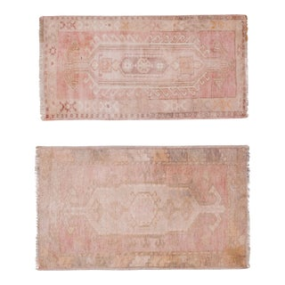 Vintage Turkish Oriental Matching Runners in Muted Colors a Pair 24'' X 41'' For Sale
