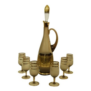 Bohemian Decanter Amber Frosted Glass Gold Paint Stopper and 6 Cordials For Sale