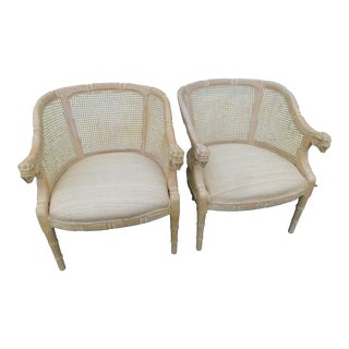 Andre Originals Rams Head Faux Bamboo Barrel Chairs-A Pair