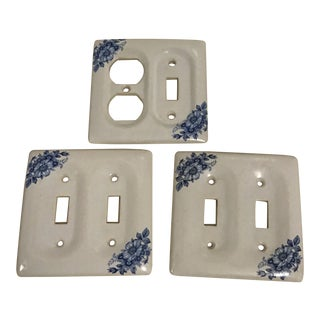 Porcelain Floral Wall Switch Plug Plates - Set of 3 For Sale
