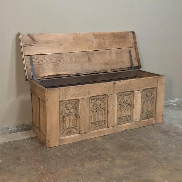 Trunk, 19th Century Rustic Gothic in Stripped Oak For Sale In Dallas - Image 6 of 12