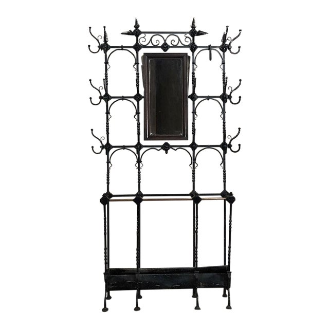 19th Century Wrought Iron Hall Tree For Sale