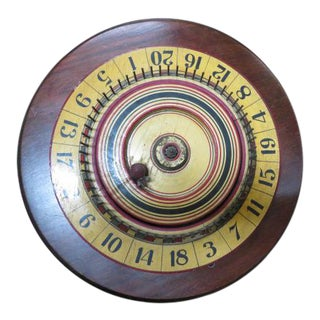 1920 Antique Painted Wood Carnival Gaming Wheel For Sale