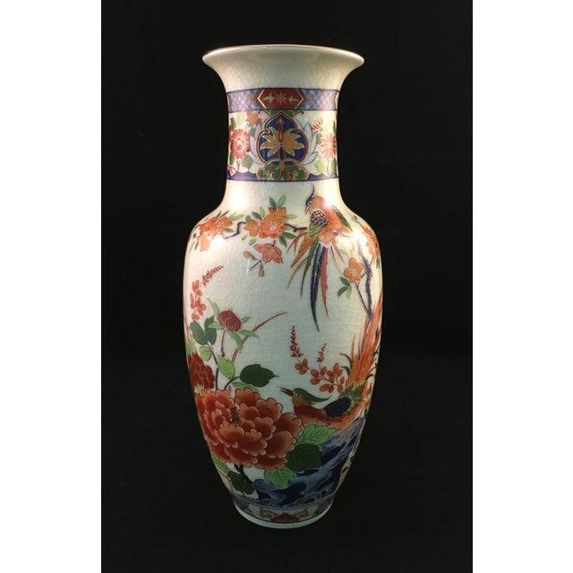 Asian Japanese Floral and Bird Crackle Glazed Vase For Sale - Image 3 of 13