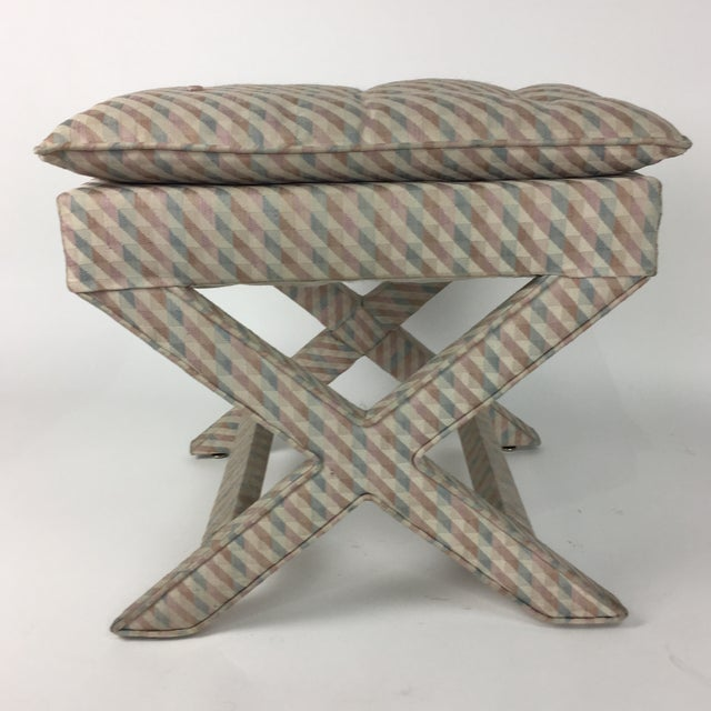 Great Vintage Upholstered X design stool. Original pop art fabric is clean with no rips. Great piece for any decor!