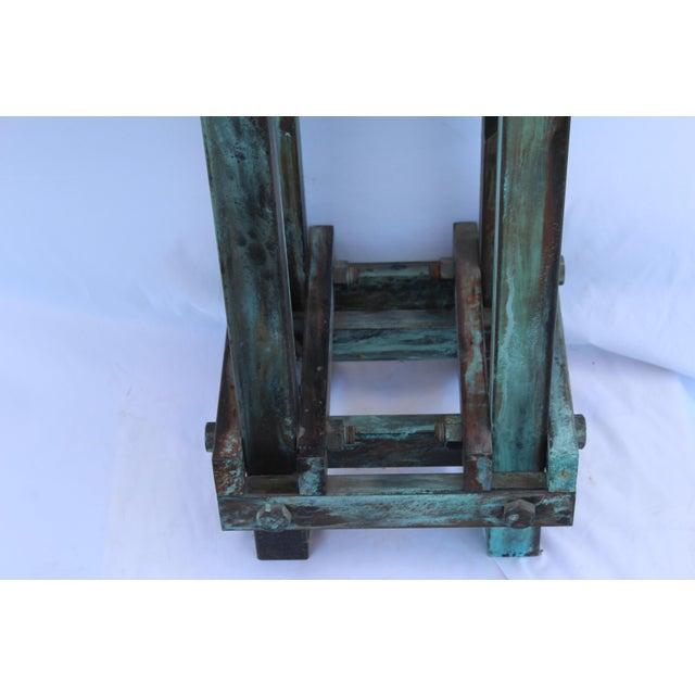 Jade Art Deco Mid-Century Design Antiqued Green Finish Steel Pedestal For Sale - Image 8 of 9
