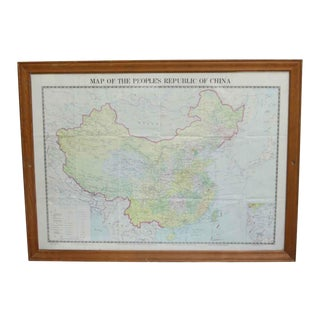 Wooden Framed People's Republic of China Map For Sale