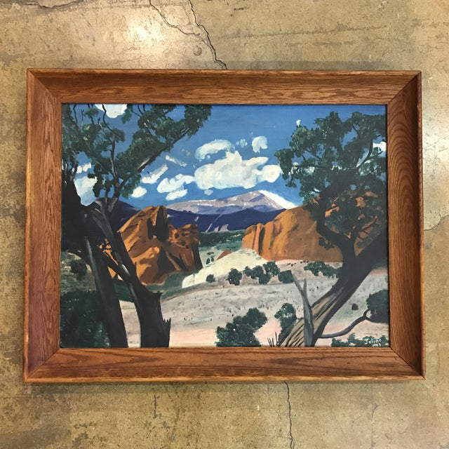 Mid-Century Framed Mountain Landscape Painting, 1953 - Image 2 of 6