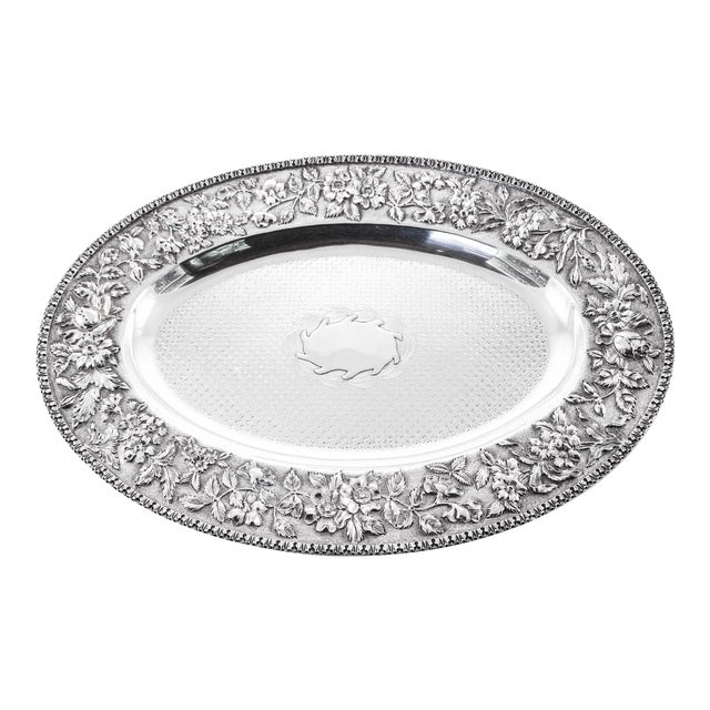 Sterling Repousse Tray For Sale