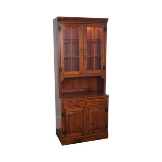 Ethan Allen Pine 2 Piece China Cabinet For Sale