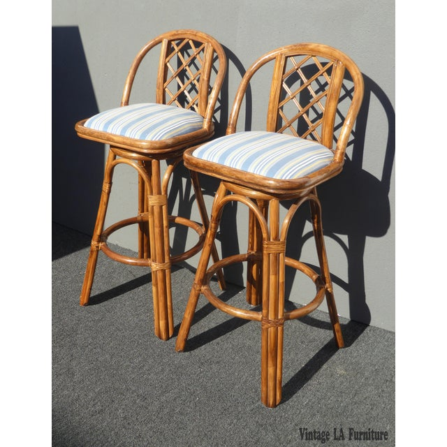 Vintage Tiki Palm Beach Bamboo Rattan Bar Stools - A Pair - Image 3 of 10