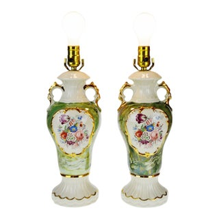 Victorian Style Ceramic Table Lamps - a Pair