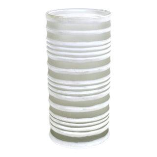 Modern White Glass Ribbed Vase For Sale