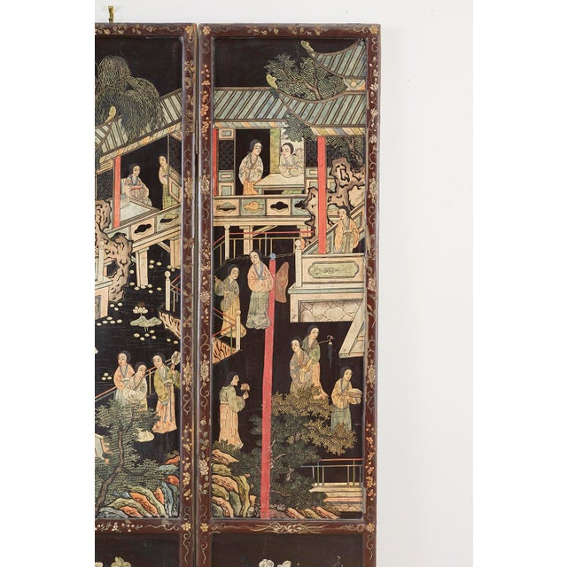 Chinese Export Three-Panel Lacquered Coromandel Screen For Sale In San Francisco - Image 6 of 13